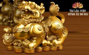 Tượng Tỳ Hưu Bằng Đồng Ngyên Chất, Màu Vàng