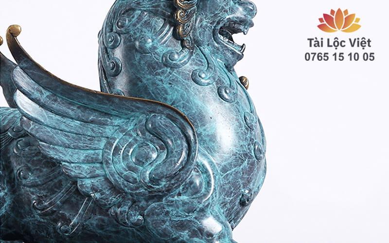Phần Ngực Tượng Tỳ Hưu Bằng Đồng Nguyên Chất Xanh Lam