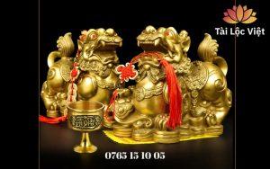 Cặp Tượng Tỳ Hưu Bằng Đồng Ngyên Chất, Màu Vàng và Ly Đồng
