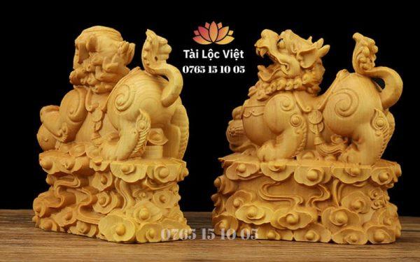 Cặp Tượng Tỳ Hưu bằng Gỗ Hoàng Dương - Mã TGTH 001