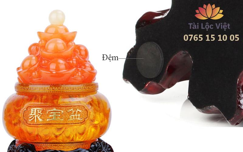 Hũ Vàng và Đế Tượng Tỳ Hưu Chầu Hũ Vàng bằng Nhựa Poly Giả Ngọc