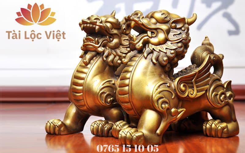 Cặp Tượng Tỳ Hưu Bằng Đồng Vàng - Chiêu Tài Lộc