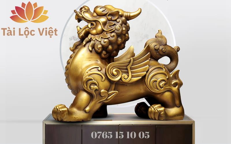 Tượng Tỳ Hưu Đực Bằng Đồng Vàng - Chiêu Tài Lộc