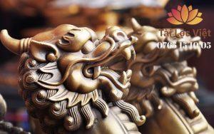 Đầu Tượng Tỳ Hưu Bằng Đồng Vàng - Chiêu Tài Lộc
