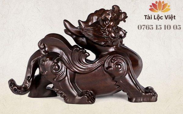 Tượng Tỳ Hưu Phong Thủy bằng Gỗ Mun Đen Hoài Cổ