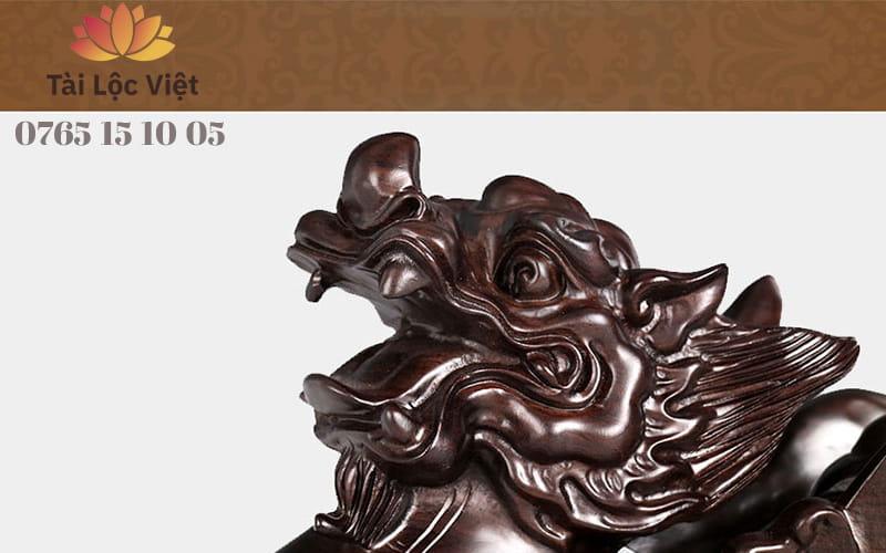 Đầu Tượng Tỳ Hưu Phong Thủy bằng Gỗ Mun Đen Hoài Cổ