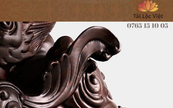 Đuôi và Mông Tượng Tỳ Hưu Phong Thủy bằng Gỗ Mun Đen Hoài Cổ