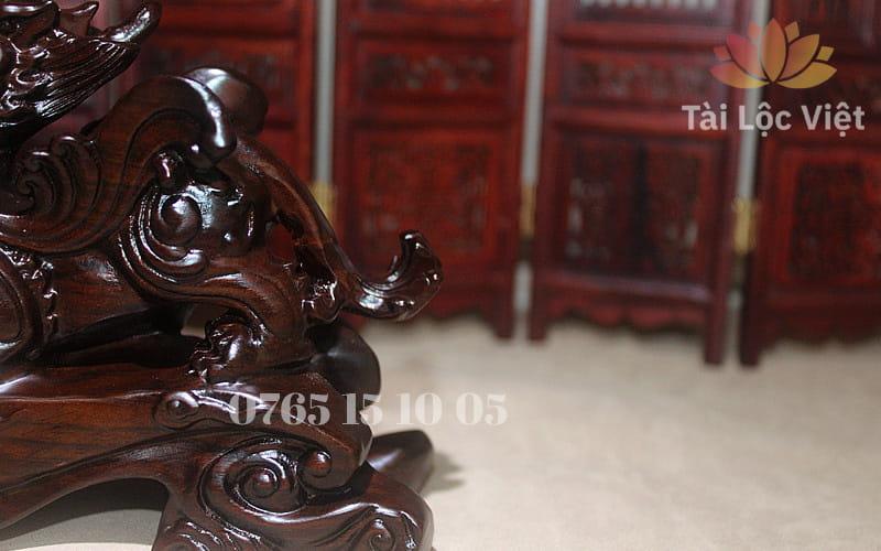 Phần đuôi Tượng Tỳ Hưu Phong Thủy bằng Gỗ Mun cao cấp