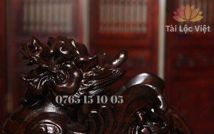 Phần đầu Tượng Tỳ Hưu Phong Thủy bằng Gỗ Mun cao cấp