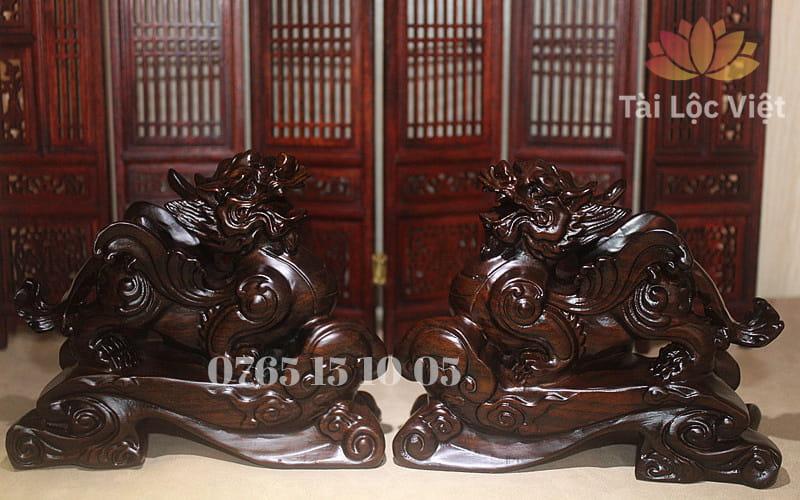 Cặp Tượng Tỳ Hưu Phong Thủy bằng Gỗ Mun cao cấp