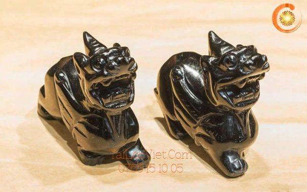 Cặp tượng Tỳ Hưu đá Obsidian đen