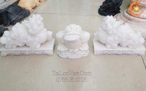 Cặp tượng Tỳ Hưu phong thủy đá cẩm thạch trắng