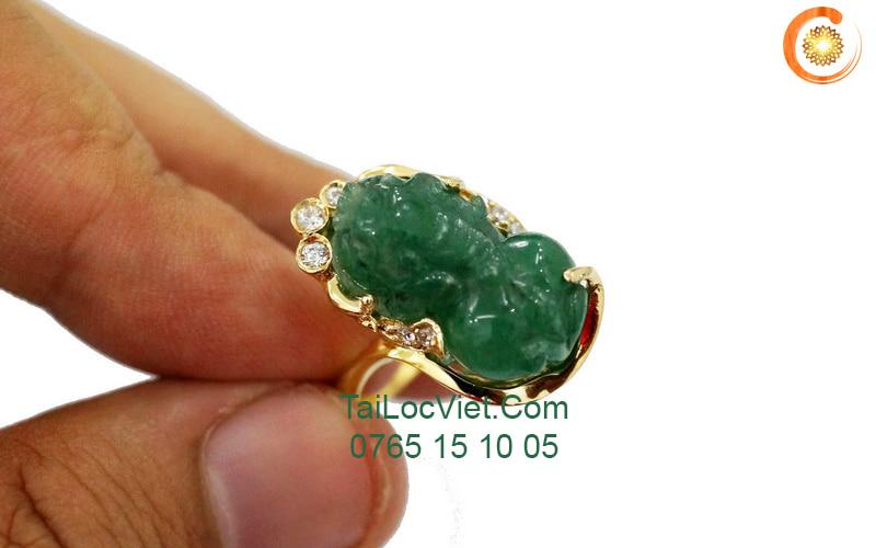 Nhẫn tỳ hưu đá Aventurine bọc vàng14k