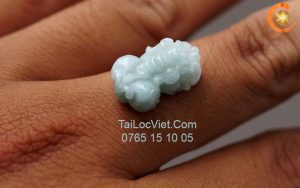 Mặt nhẫn Tỳ Hưu ngọc cẩm thạch jade a