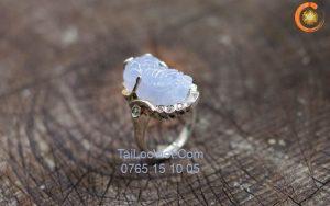 Nhẫn Tỳ Hưu đá Opal màu xanh biển