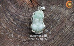 Mặt Tỳ Hưu cẩm thạch Jade A màu xanh bọc bạc