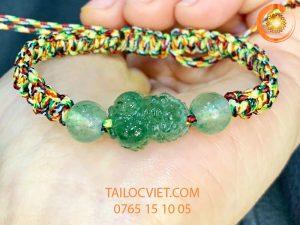 Vòng tay Tỳ Hưu tết dây bằng đá thạch anh dâu xanh