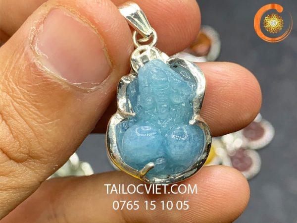 Mẫu mặt Tỳ Hưu đeo cổ bằng đá aquamarine bọc bạc