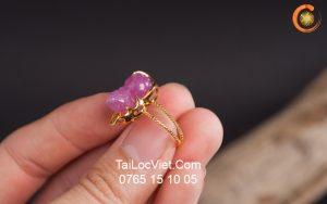 Nhẫn Tỳ Hưu ruby nam phi vàng 10k