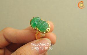 Nhẫn Tỳ Hưu nữ đá aventurine vàng 10k