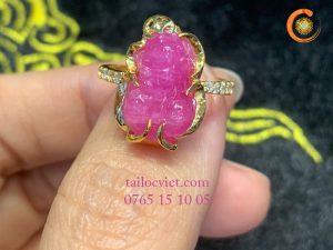 Nhẫn Tỳ Hưu đá ruby tự nhiên size nữ