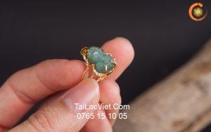 Nhẫn Tỳ Hưu nữ bằng ngọc miến điện mini