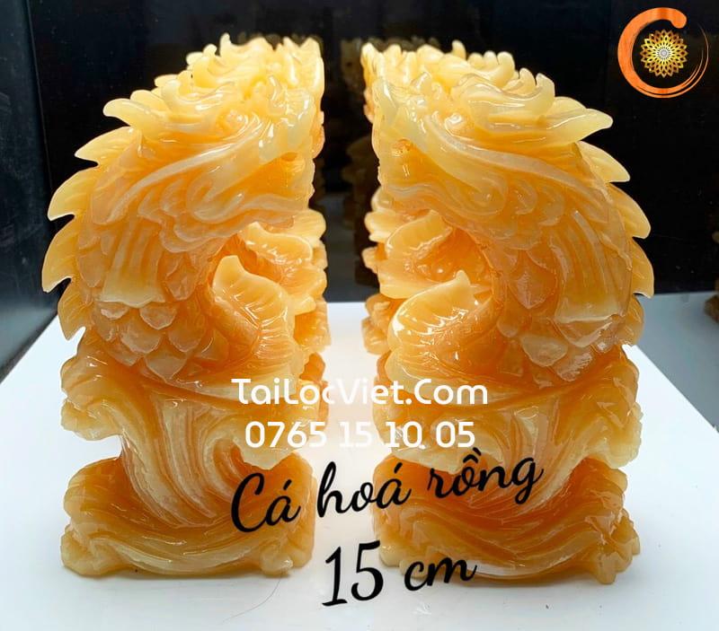 Tượng Cá Chép Hoá Rồng Ngọc Hoàng Long 15cm